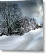House On The Hill Winters In Vermont Metal Print