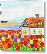 House With Tulips  In Holland Painting Metal Print