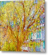 House With White Picket Fence Metal Print
