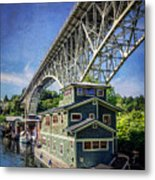 Houseboat And Aurora Bridge Seattle Metal Print