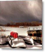 Houseboats In Winter Metal Print