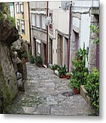 Houses Along Alley In The Old Town Of Porto Metal Print
