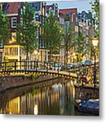 Houses Along Canal At Dusk Metal Print