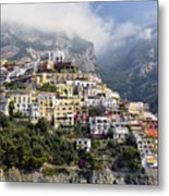 Houses Built On A Hillside Positano Italy Metal Print by George Oze