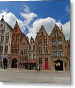 Houses Of Jan Van Eyck Square In Bruges Belgium Metal Print