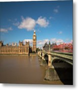 Houses Of Parliament And Westminster Bridge Metal Print