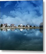 Houses Reflecting In The Bay Metal Print
