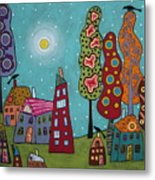 Houses Trees And Birds Metal Print