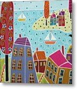 Houses Trees And Sailboats By The Bay Metal Print