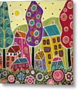 Houses Trees Flowers Metal Print