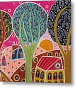 Houses Trees Whimsical Landscape Metal Print