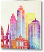 Houston Landmarks Watercolor Poster Metal Print