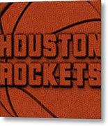 Houston Rockets Leather Art Metal Print