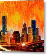 Houston Skyline 119 - Pa Metal Print