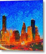 Houston Skyline 130 - Pa Metal Print