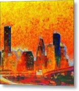 Houston Skyline 135 - Pa Metal Print