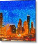 Houston Skyline 40 - Pa Metal Print