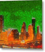 Houston Skyline 48 - Pa Metal Print