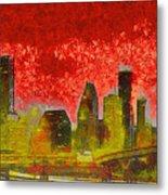 Houston Skyline 50 - Pa Metal Print