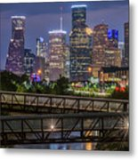 Houston Skyline Over Buffalo Bayou At Twilight Metal Print