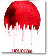 Houston Skyline Red Metal Print