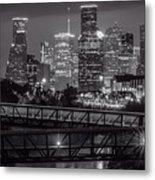 Houston Skyline With Rosemont Bridge In Bw Metal Print