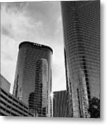 Houston Skyscrapers Black And White Metal Print