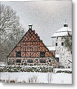 Hovdala Castle Gatehouse And Stables In Winter Metal Print