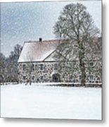 Hovdala Castle Main House In Winter Metal Print