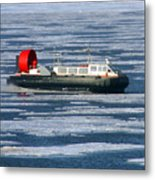 Hovercraft On Frozen Artic Ocean Metal Print