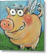 Hovering Pig Metal Print