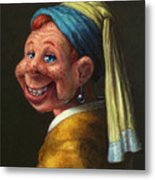 Howdy With A Pearl Earring Metal Print