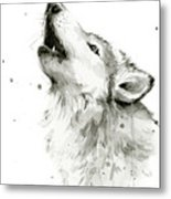 Howling Wolf Watercolor Metal Print