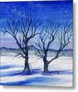 Huddled On A Snowy Field.  Metal Print