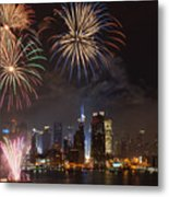 Hudson River Fireworks Iv Metal Print by Clarence Holmes
