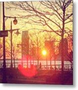Hudson River Winter Sunset Metal Print