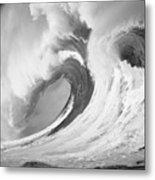 Huge Curling Wave - Bw Metal Print