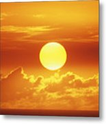 Huge Orange Sun Metal Print