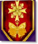Huguenot Cross And Shield Metal Print