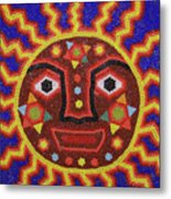 Huichol Beadwork Sun Mexico Metal Print