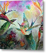 Hummingbird And Birds Of Paradise Tropical Watercolor Metal Print