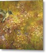 Hummingbird And Hydrangeas Metal Print