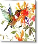 Hummingbird And Orange Flowers Metal Print