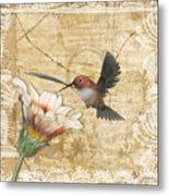 Hummingbird And Wildflower Metal Print
