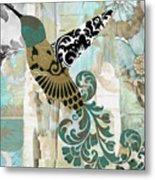 Hummingbird Batik Metal Print