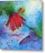 Hummingbird Batik Watercolor Metal Print