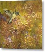 Hummingbird In Hydrangeas Metal Print