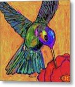 Hummingbird On Yellow Metal Print