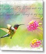 Hummingbird With Bible Verse Metal Print