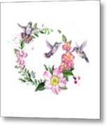 Hummingbird Wreath In Watercolor Metal Print